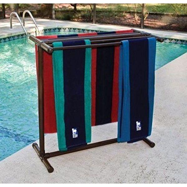 Portable 5-Bar Bronze Outdoor Towel Rack by Outdoor Lamp Company