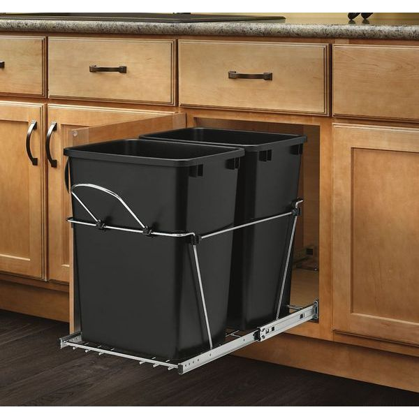 Rev-A-Shelf - Double 35 Quart Pullout Waste Containers, Black