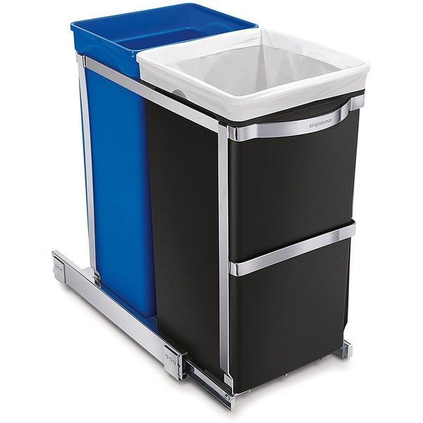 simplehuman Under-Counter Pull-Out Recycler Trash Can