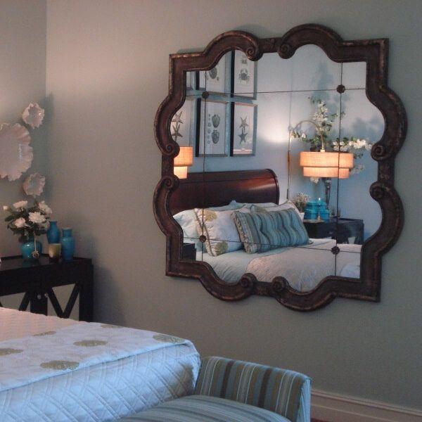 Large Ornate Silver Quatrefoil Mirror