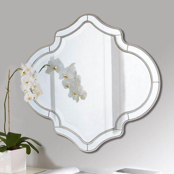 Silver Four Leaf Clover Quatrefoil Mirror