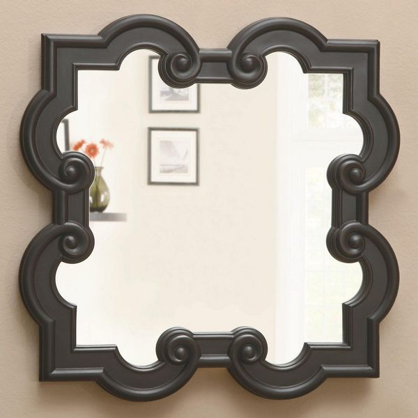 Quatrefoil Mirror with Black Frame