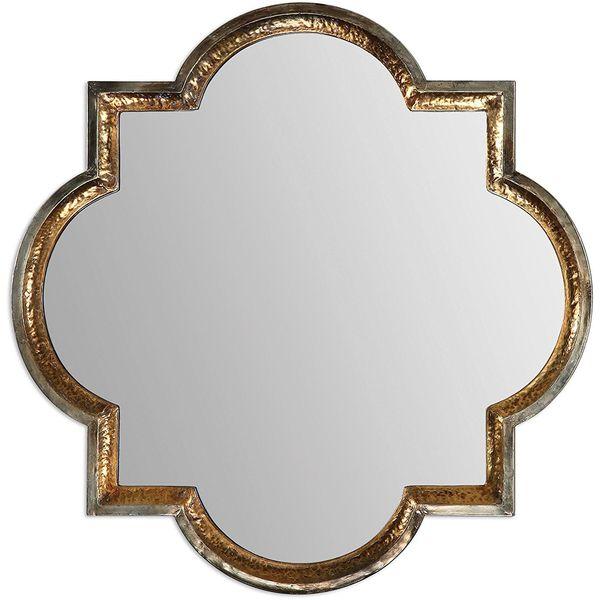 Uttermost Designer Hammered Gold Quatrefoil Mirror