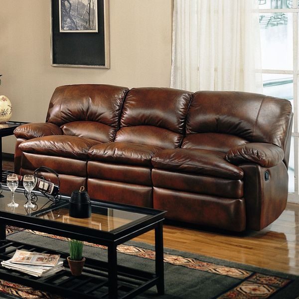 Coaster Walter Casual Dual Reclining Sofa, Brown Bonded Leather