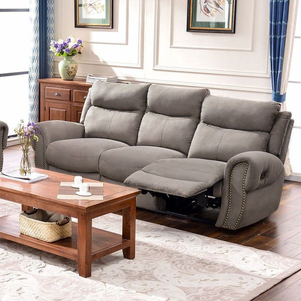 Two Toned Hazelnut Microfiber Recliner Sectional by Poundex