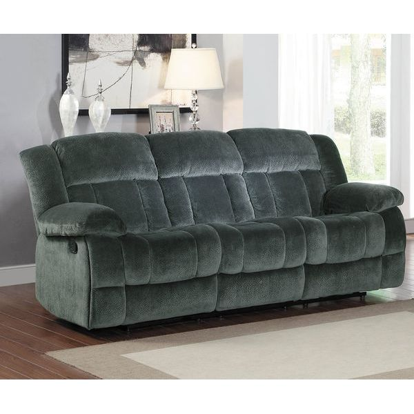 Homelegance Laurelton Textured Plush Microfiber Motion Reclining Sofa, Gray