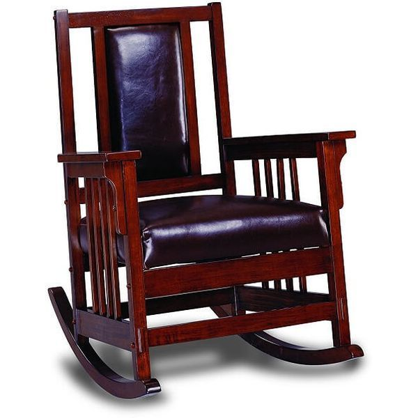 Coaster Mission Style Wood and Leather Rocking Chair