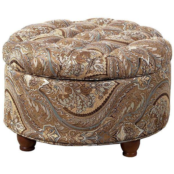 Kinfine Tweed Tufted Round Storage Ottoman