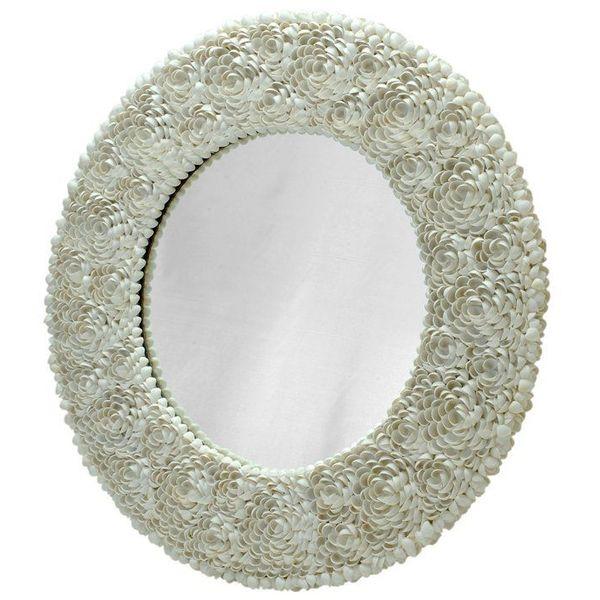 KOUBOO Round Clamrose Seashell Wall Mirror