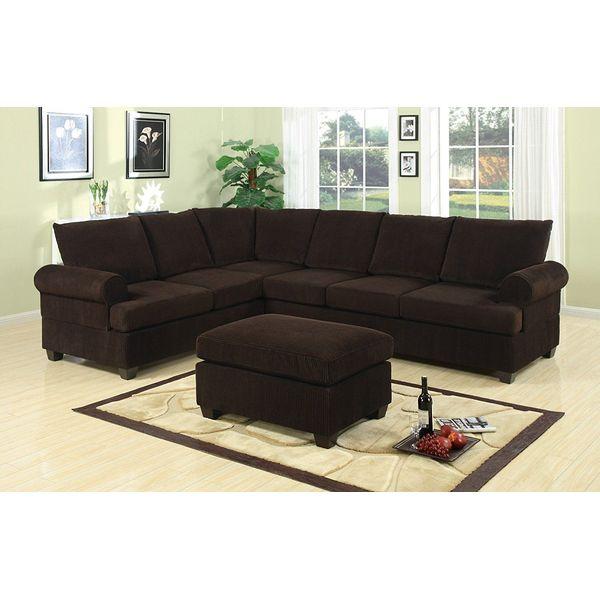 Bobkona Miranda 3-Piece Reversible Sectional with Ottoman Sofa Set