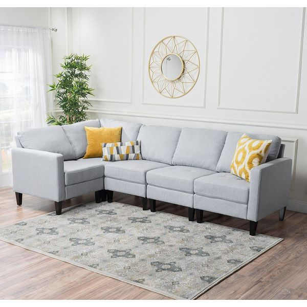 Verona 3 pieces Faux Linen Sectional Sofa Set with Ottoman