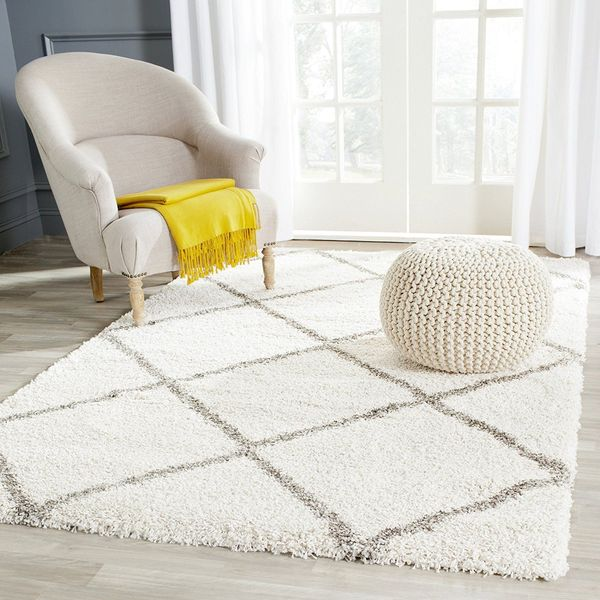 Gray Leather Shag Rug