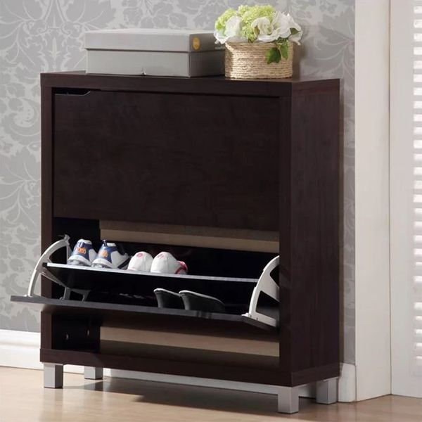 Modern Shoe Cabinet in Dark Brown Finish