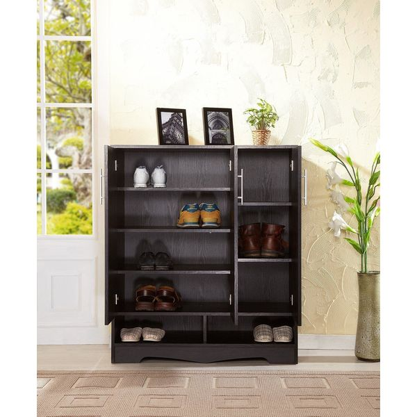 Furniture of America Westwood 7-Shelf Shoe Cabinet, Black