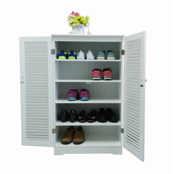 Homecharm-Intl Shoe Cabinet With Double Louvered Doors, White