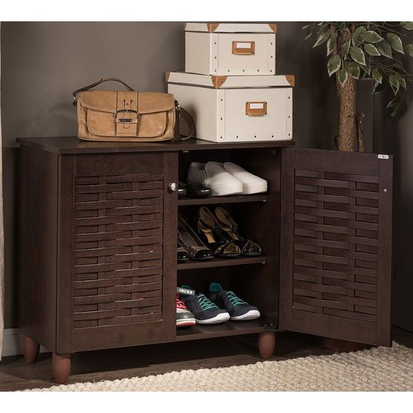 Furniture of America Brisk 5-Shelf Shoe Cabinet, Black