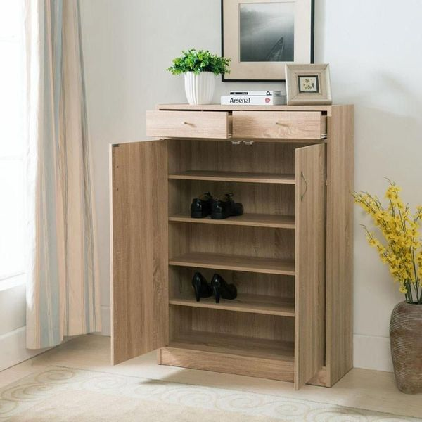 Five Shelf Coffee Bean Finish Shoe Storage Cabinet