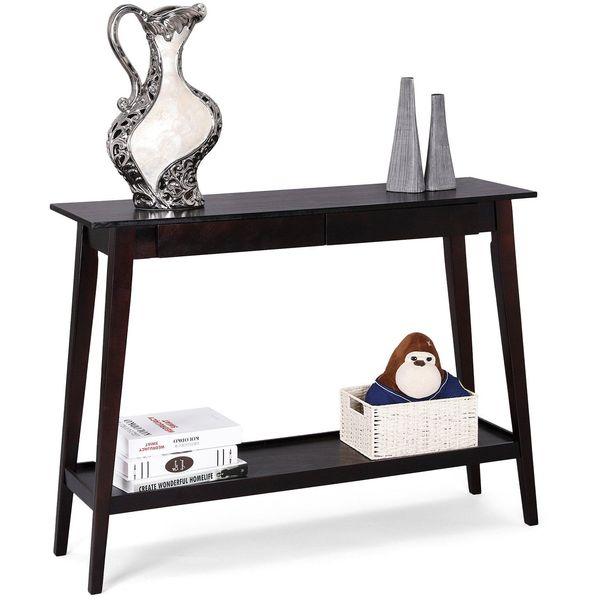 Espresso Abstract Design Occasional Sofa Table