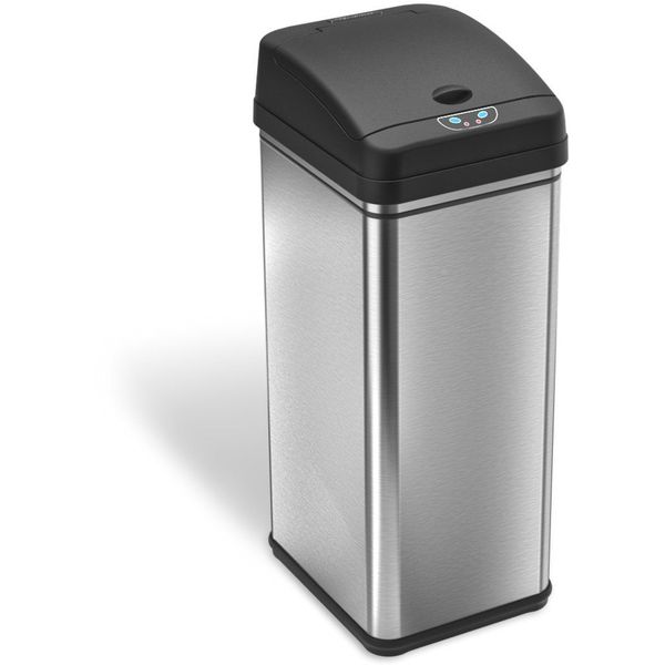 iTouchless Deodorizer Touch-Free Sensor 13-Gallon Automatic Stainless Steel Trash Can