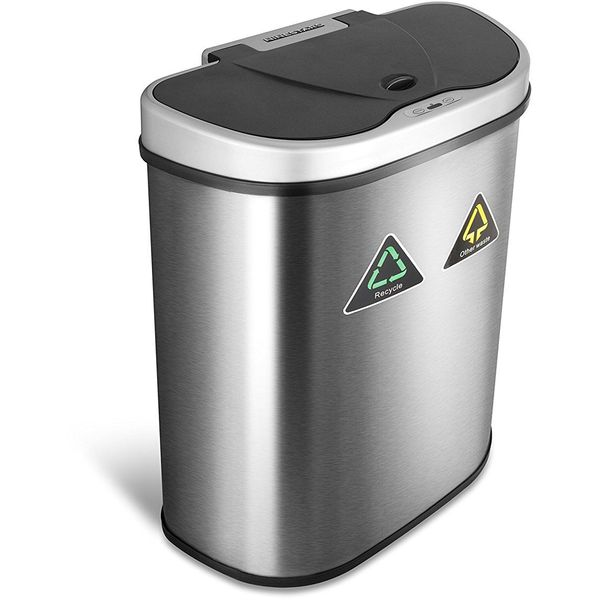 Nine Stars Trash Can/Recycler, Touchless Automatic Lid, Stainless Steel, 18.5-Gallon