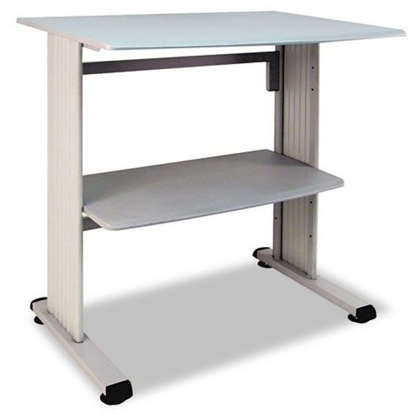 Buddy Products Stand Up Workstation with Beveled Edge, Gray