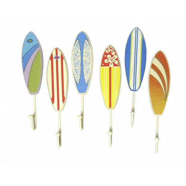 Set of 6 Tropical Beachy Surfboard Wall Hooks