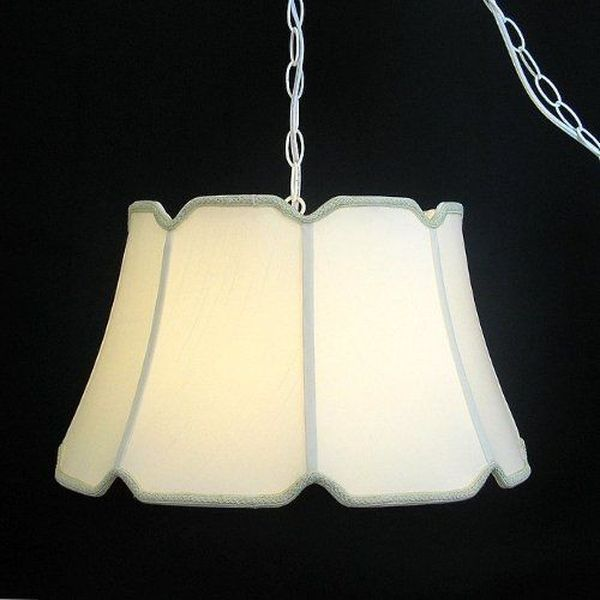 Egg Silk Swag White Chain Hanging Lamp
