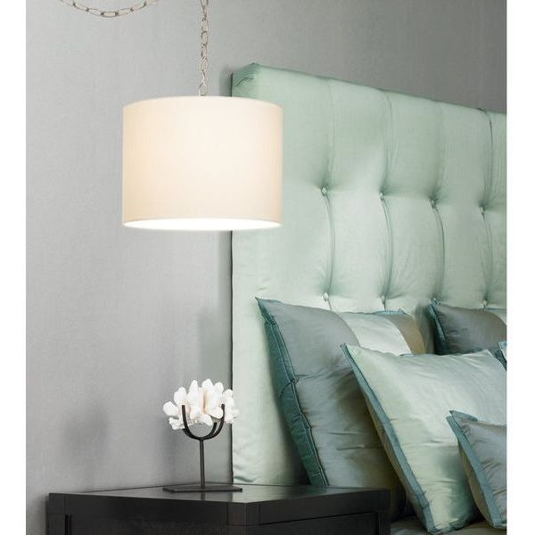 Upgradelights White Linen Drumshade Swag Lamp