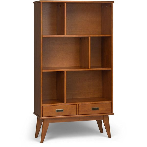 Simpli Home Draper Mid Century Wide Bookcase and Storage Unit, Teak Brown