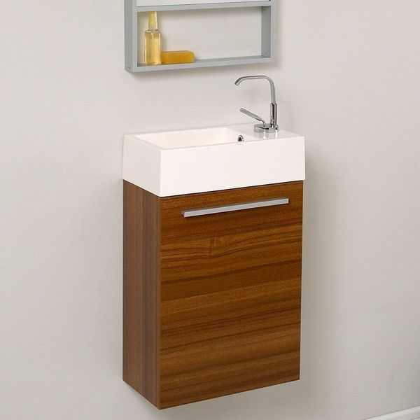 Fresca Pulito Small Teak Modern Bathroom Vanity with Tall Mirror