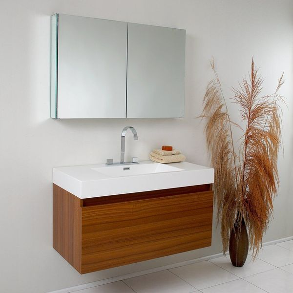 Fresca Mezzo Teak Modern Bathroom Vanity with Blum Storage System