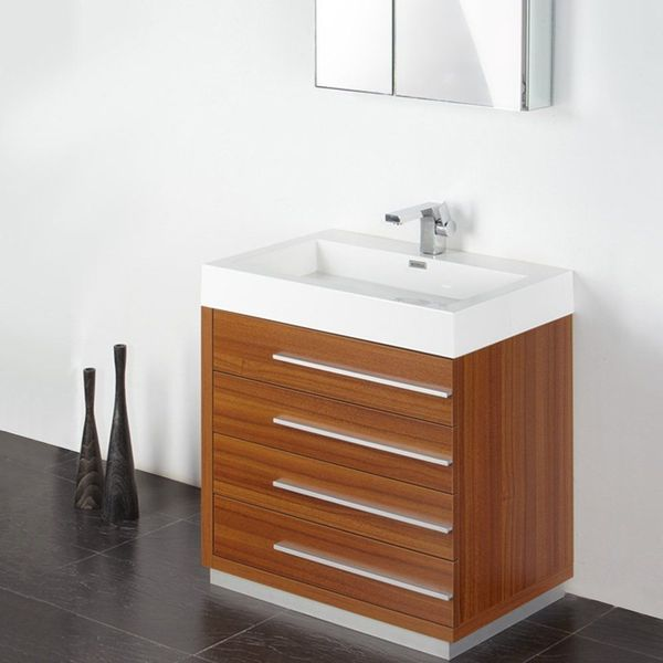 Fresca Livello 30-inch Teak Modern Bathroom Vanity with Faucet & Medicine Cabinet