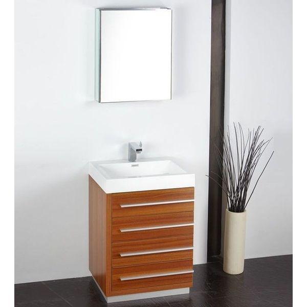 Fresca Senza24-inch Livello Modern Teak Bathroom Vanity Set with Medicine Cabinet