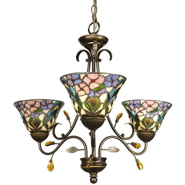Dale Tiffany 3-Light Crystal Peony Chandelier