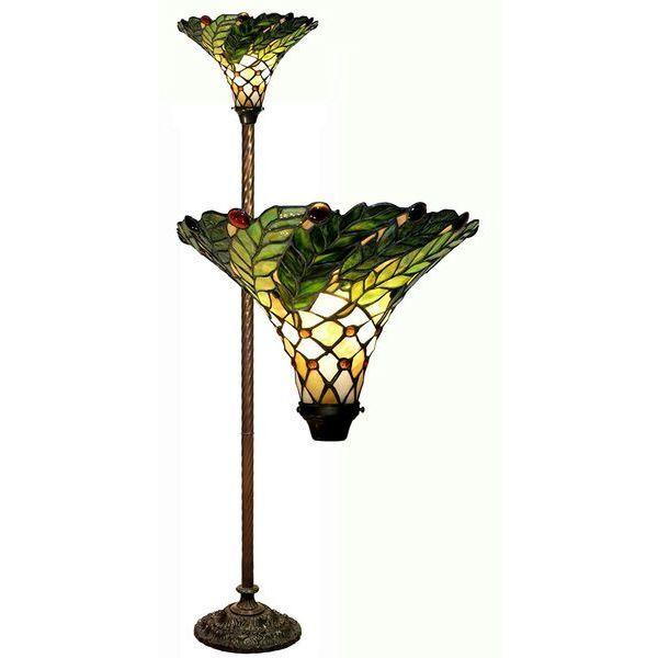 Green Leafy 60-Watt 72-Inch Torchiere Lamp