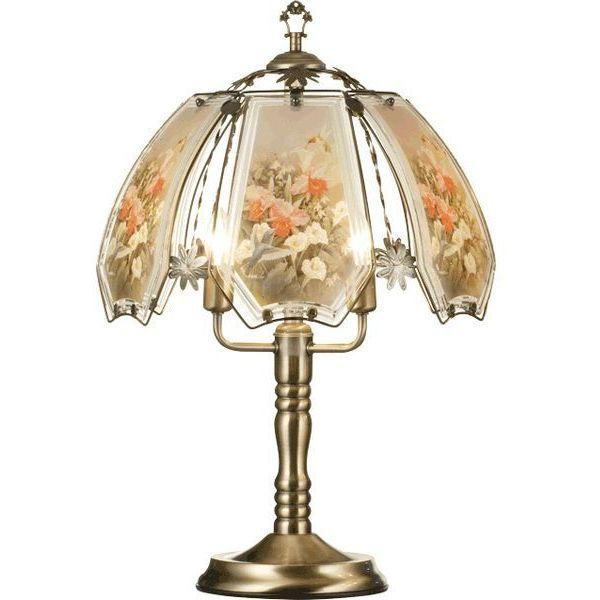 ORE International K307 Glass Hummingbird Pastel Scene Touch Lamp