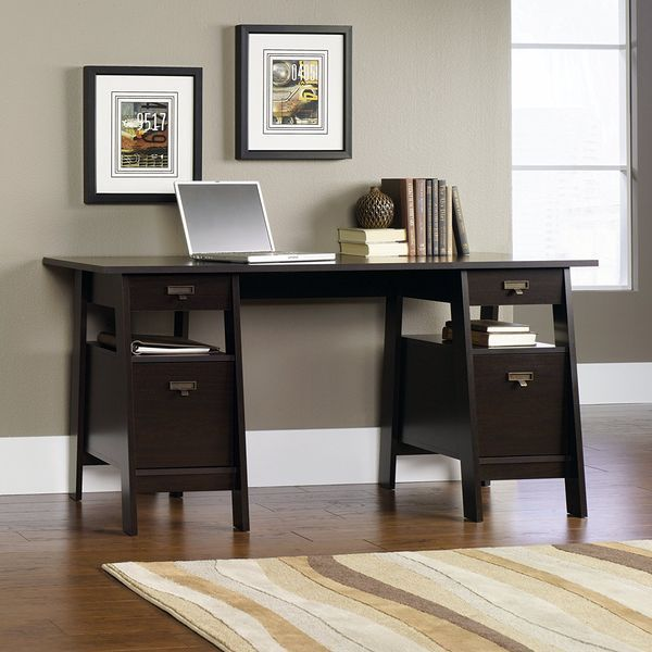 Executive Jamocha Espresso Trestle Desk