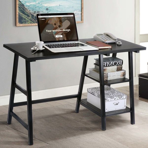 TANGKULA Trestle Desk, Black