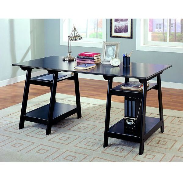 Coaster Black Wood Trestle Style Office Desk