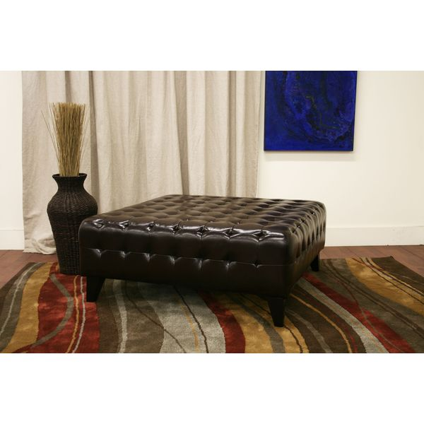 Square Ottoman with Tufted Effect in Dark Brown Bonded Leather