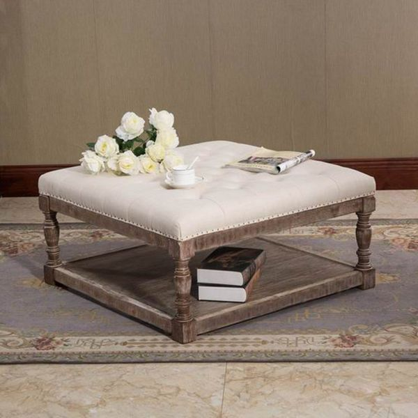 Warehouse of Tiffany Cairona Tufted Ottoman, Cream