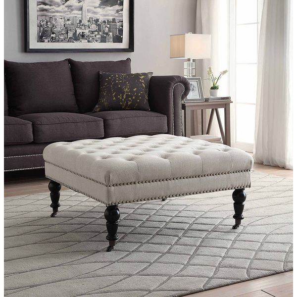 Linon Square Tufted Ottoman in Natural Finish