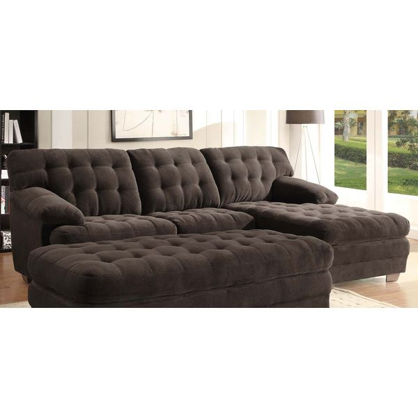Home Elegance Channel-Tufted 2-Piece Textured Plush Microfiber Sectional Sofa Set