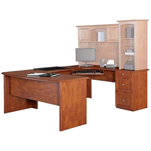 Realspace Broadstreet Contoured U-Shaped Desk, Maple