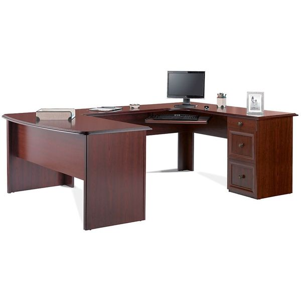Realspace Broadstreet Executive U-Shaped Office Desk, Cherry