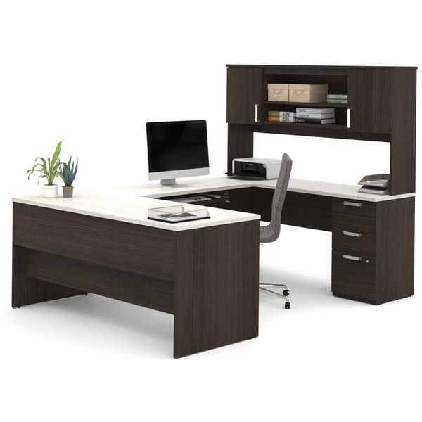 Bestar Ridgeley U-Shaped Desk in Dark Chocolate and White Chocolate