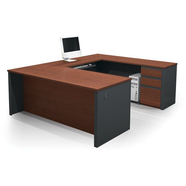 Contemporary U-Shaped Workstation in Bordeaux and Graphite