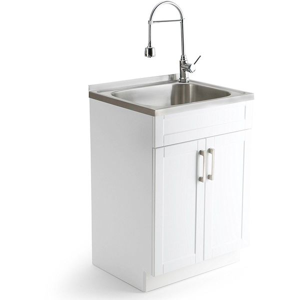 ErgoTub Freestanding Utility Laundry Tub, White
