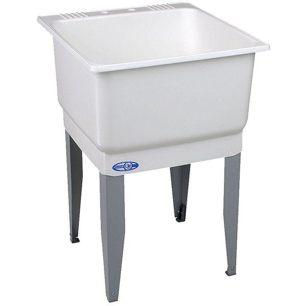 Mustee Utilatub Floor Mounted Laundry Sink, 25-Inch x 23-Inch, White