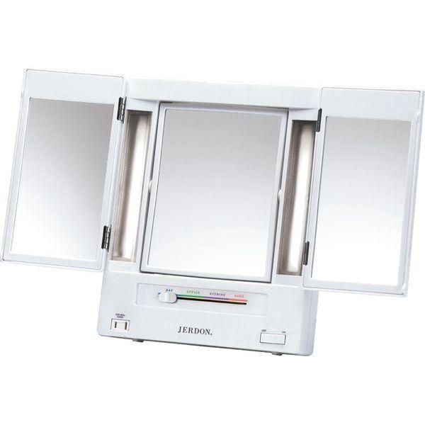 Jerdon Classic Lighted Tri-Fold Mirror
